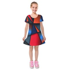 3d And Abstract Kids  Short Sleeve Velvet Dress