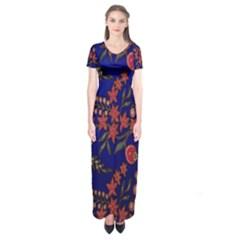 Batik Fabric Short Sleeve Maxi Dress