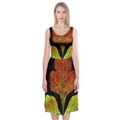 Autumn Beauty Midi Sleeveless Dress