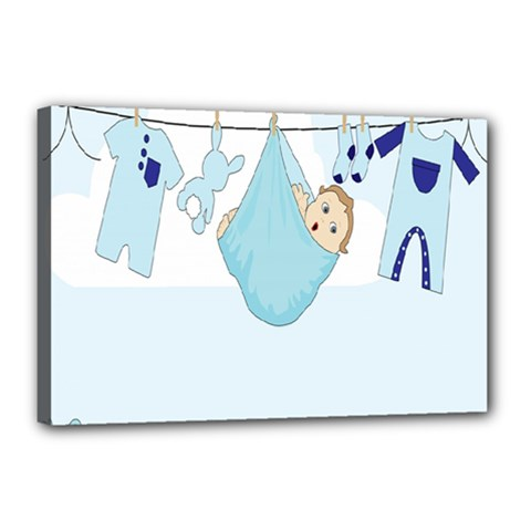 Baby Boy Clothes Line Canvas 18  x 12