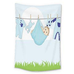 Baby Boy Clothes Line Large Tapestry