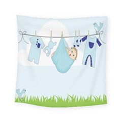 Baby Boy Clothes Line Square Tapestry (small)