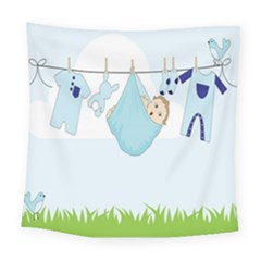 Baby Boy Clothes Line Square Tapestry (large)