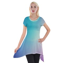 Background Blurry Template Pattern Short Sleeve Side Drop Tunic