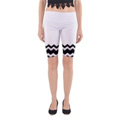 Chevrons Black Pattern Background Yoga Cropped Leggings