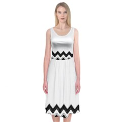 Chevrons Black Pattern Background Midi Sleeveless Dress