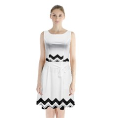 Chevrons Black Pattern Background Sleeveless Chiffon Waist Tie Dress