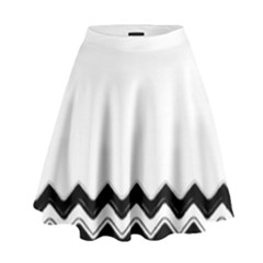 Chevrons Black Pattern Background High Waist Skirt