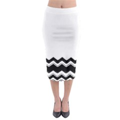 Chevrons Black Pattern Background Midi Pencil Skirt