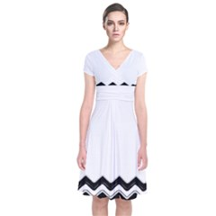 Chevrons Black Pattern Background Short Sleeve Front Wrap Dress