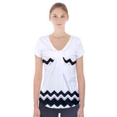Chevrons Black Pattern Background Short Sleeve Front Detail Top