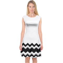 Chevrons Black Pattern Background Capsleeve Midi Dress