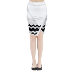 Chevrons Black Pattern Background Midi Wrap Pencil Skirt