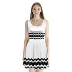 Chevrons Black Pattern Background Split Back Mini Dress