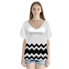 Chevrons Black Pattern Background Flutter Sleeve Top