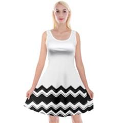 Chevrons Black Pattern Background Reversible Velvet Sleeveless Dress