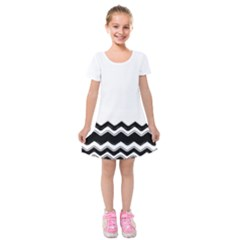 Chevrons Black Pattern Background Kids  Short Sleeve Velvet Dress