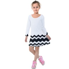 Chevrons Black Pattern Background Kids  Long Sleeve Velvet Dress