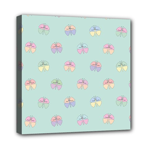 Butterfly Pastel Insect Green Mini Canvas 8  x 8