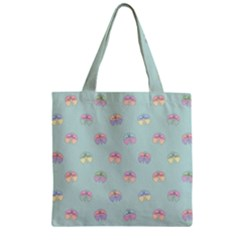 Butterfly Pastel Insect Green Zipper Grocery Tote Bag