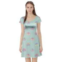 Butterfly Pastel Insect Green Short Sleeve Skater Dress
