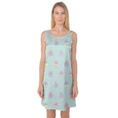 Butterfly Pastel Insect Green Sleeveless Satin Nightdress