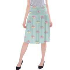 Butterfly Pastel Insect Green Midi Beach Skirt