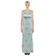 Butterfly Pastel Insect Green Maxi Thigh Split Dress