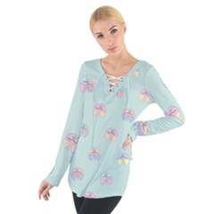 Butterfly Pastel Insect Green Women s Tie Up Tee