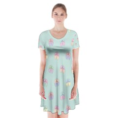 Butterfly Pastel Insect Green Short Sleeve V-neck Flare Dress