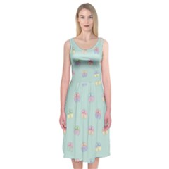 Butterfly Pastel Insect Green Midi Sleeveless Dress