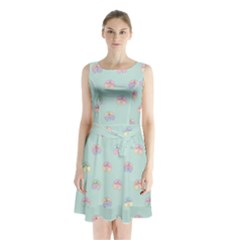 Butterfly Pastel Insect Green Sleeveless Chiffon Waist Tie Dress