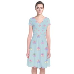 Butterfly Pastel Insect Green Short Sleeve Front Wrap Dress