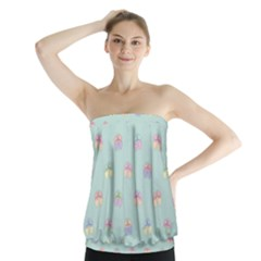 Butterfly Pastel Insect Green Strapless Top