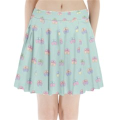 Butterfly Pastel Insect Green Pleated Mini Skirt