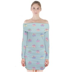 Butterfly Pastel Insect Green Long Sleeve Off Shoulder Dress