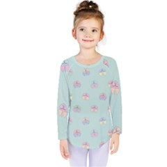 Butterfly Pastel Insect Green Kids  Long Sleeve Tee