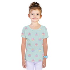 Butterfly Pastel Insect Green Kids  One Piece Tee