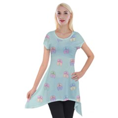 Butterfly Pastel Insect Green Short Sleeve Side Drop Tunic