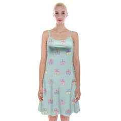 Butterfly Pastel Insect Green Spaghetti Strap Velvet Dress