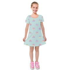 Butterfly Pastel Insect Green Kids  Short Sleeve Velvet Dress
