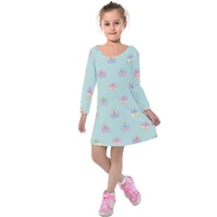 Butterfly Pastel Insect Green Kids  Long Sleeve Velvet Dress