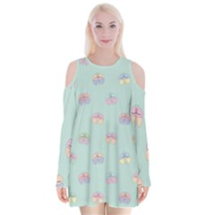 Butterfly Pastel Insect Green Velvet Long Sleeve Shoulder Cutout Dress