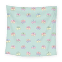 Butterfly Pastel Insect Green Square Tapestry (large)
