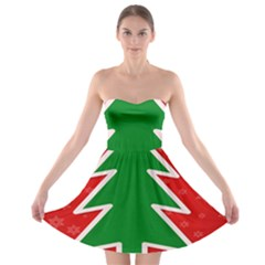 Christmas Tree Strapless Bra Top Dress