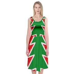 Christmas Tree Midi Sleeveless Dress