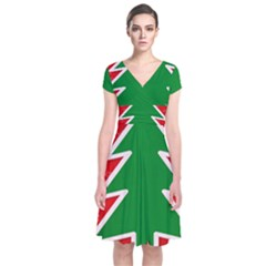 Christmas Tree Short Sleeve Front Wrap Dress