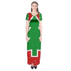Christmas Tree Short Sleeve Maxi Dress