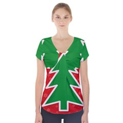 Christmas Tree Short Sleeve Front Detail Top