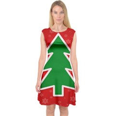 Christmas Tree Capsleeve Midi Dress